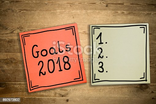 888342518 istock photo Goals 2018. The concept of determining challenges for 2018. Hand-written on sticky notes. 892973802