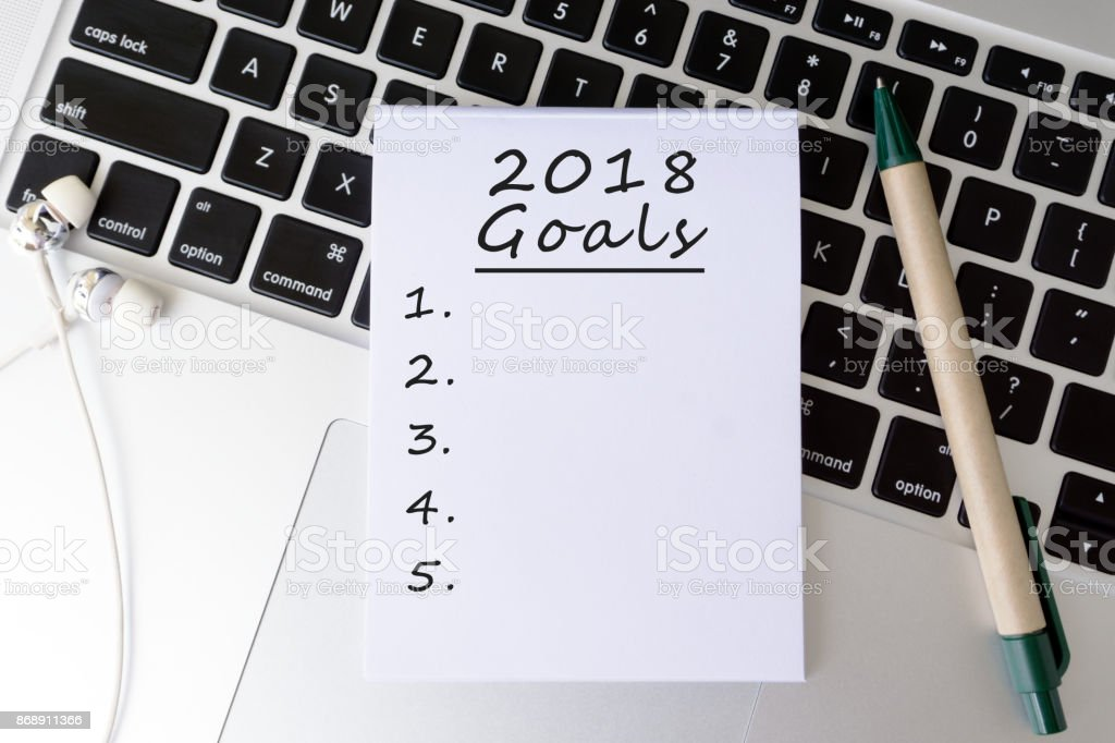 Goals 2018 Written on Paper on Top of Keyboard stock photo