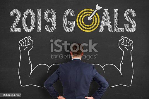 1069595584 istock photo Goals 2019 on Blackboard 1066374742
