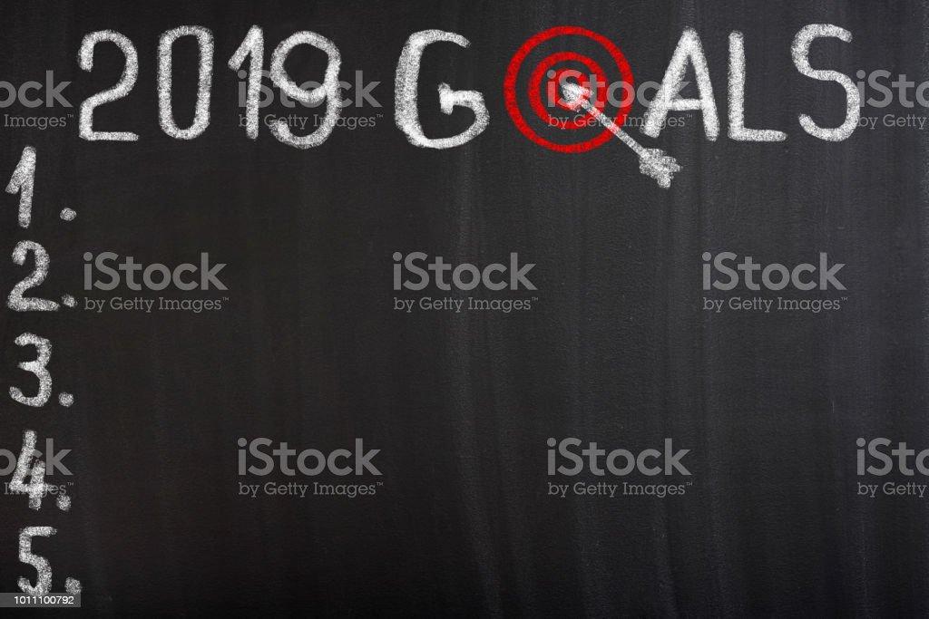 Goals 2019 written on Arrow in the bullseye stock photo