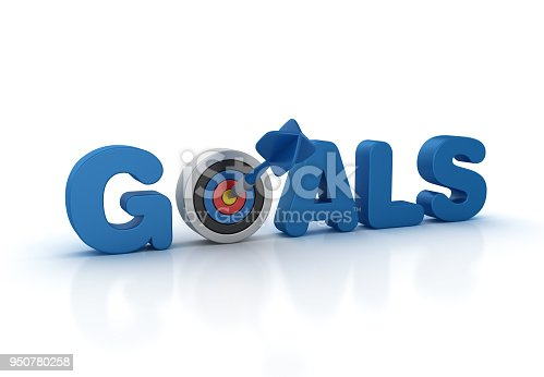Goals 3D Word with Target and Dart - White Background - 3D Rendering