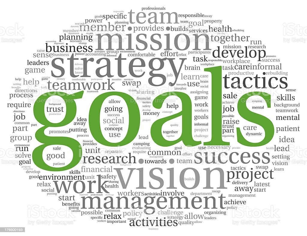 Goals concept in word tag cloud royalty-free stock photo
