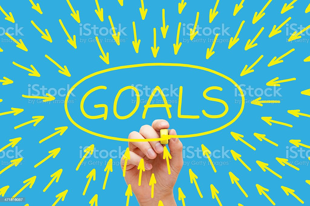 Goals Concept Yellow stock photo
