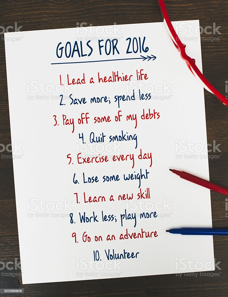 Goals list for New Year 2016