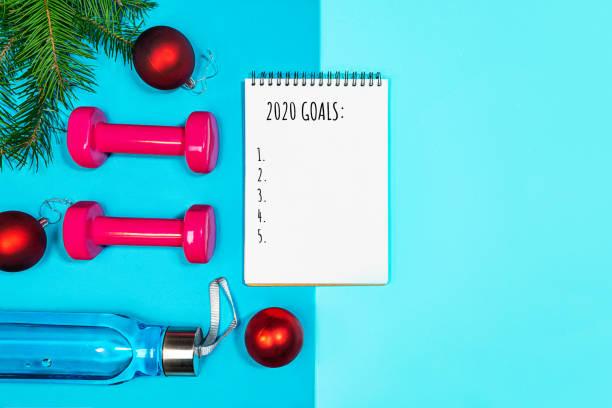 mål lista för nyårs semester. - calendar workout bildbanksfoton och bilder