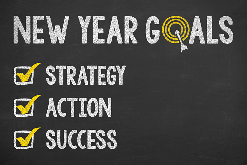 istock Goals New Year on Chalkboard 614740964