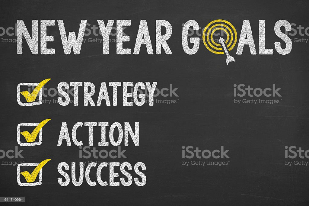 Goals New Year on Chalkboard stock photo