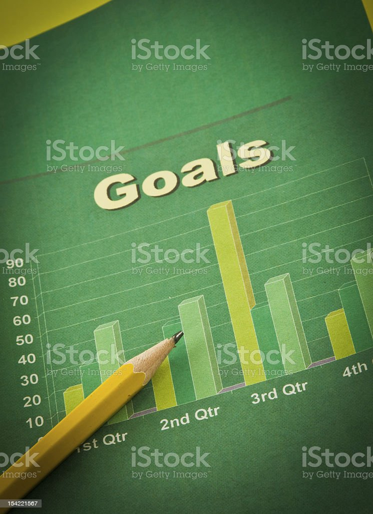 Goals Quarterly Chart stock photo