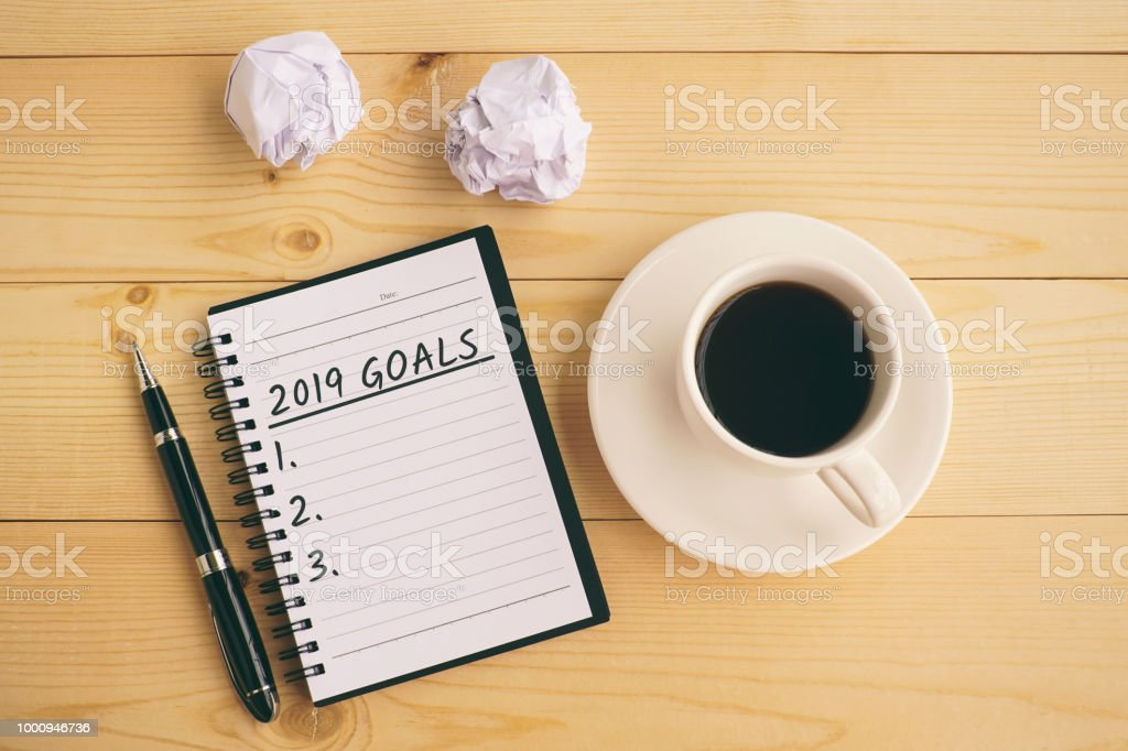 2019 goals text on note pad stock photo