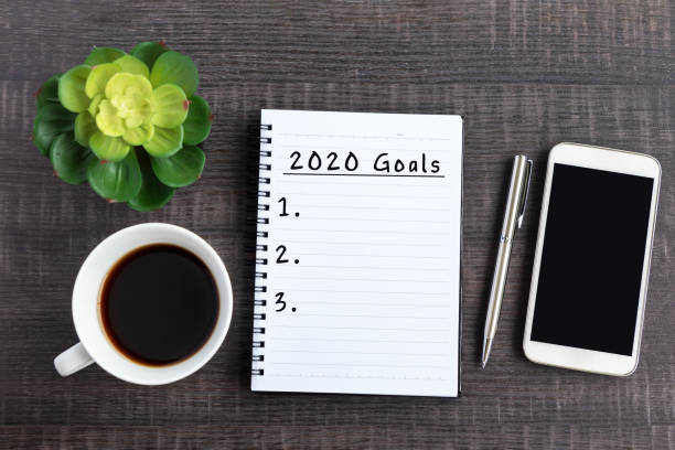 2020 Goals Text on Note Pad New Year Concept modern period stock pictures, royalty-free photos & images