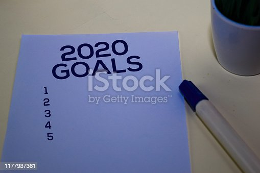 istock 2020 Goals text on the paper isolated on desk background 1177937361
