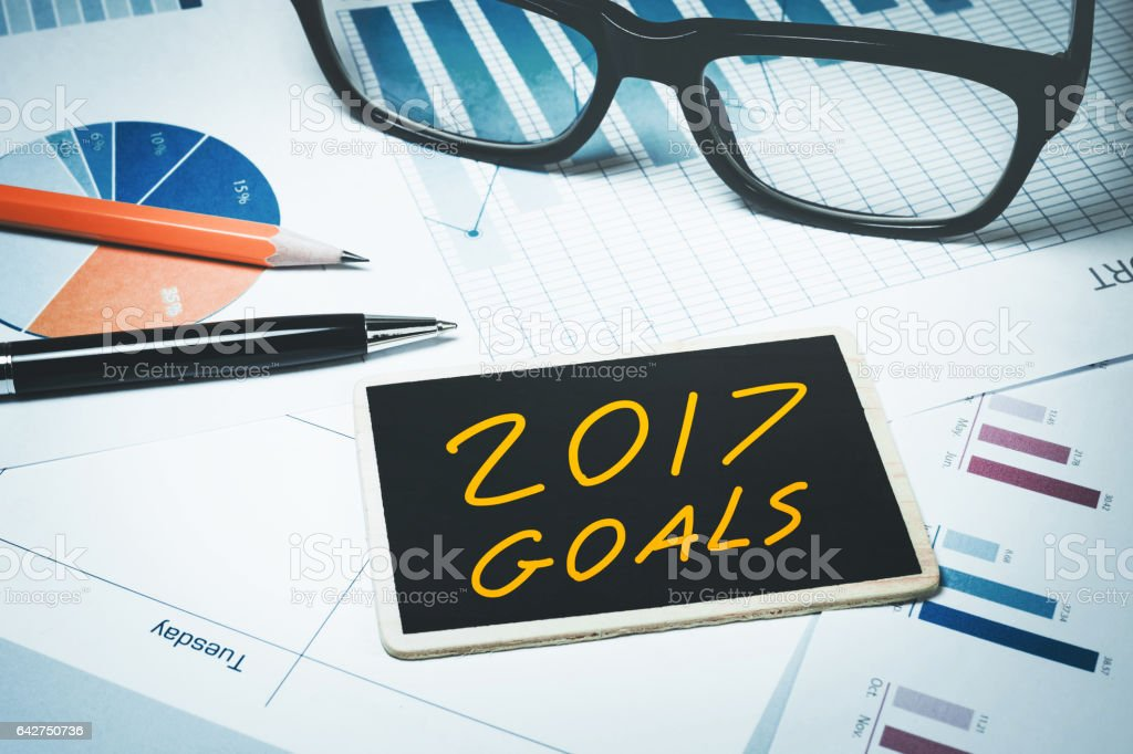2017 goals.For business investment and financia stock photo