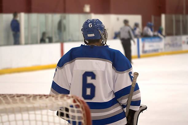 Goaltender stock photo