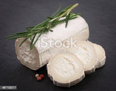 Fresh goat cheese on a slate