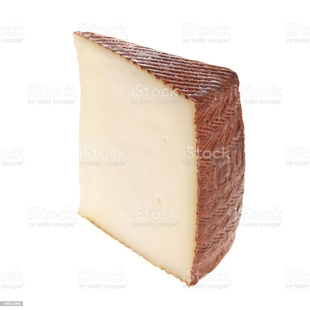 Goat cheese slice isolated on white royalty-free stock photo