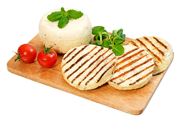 Goat Cheese-Halloumi(+clipping path) stock photo