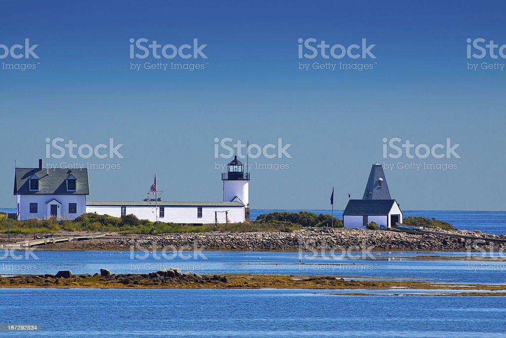 Goat Island Lighthouse, Maine. Clear blue sky. stock photo