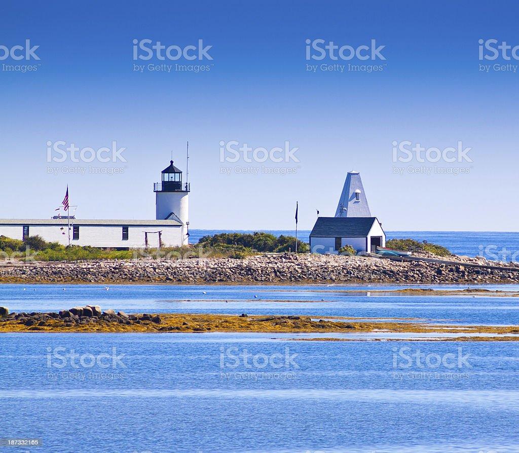 Goat Island Lighthouse, Maine. stock photo