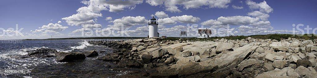 Goat Island Lighthouse panorama stock photo