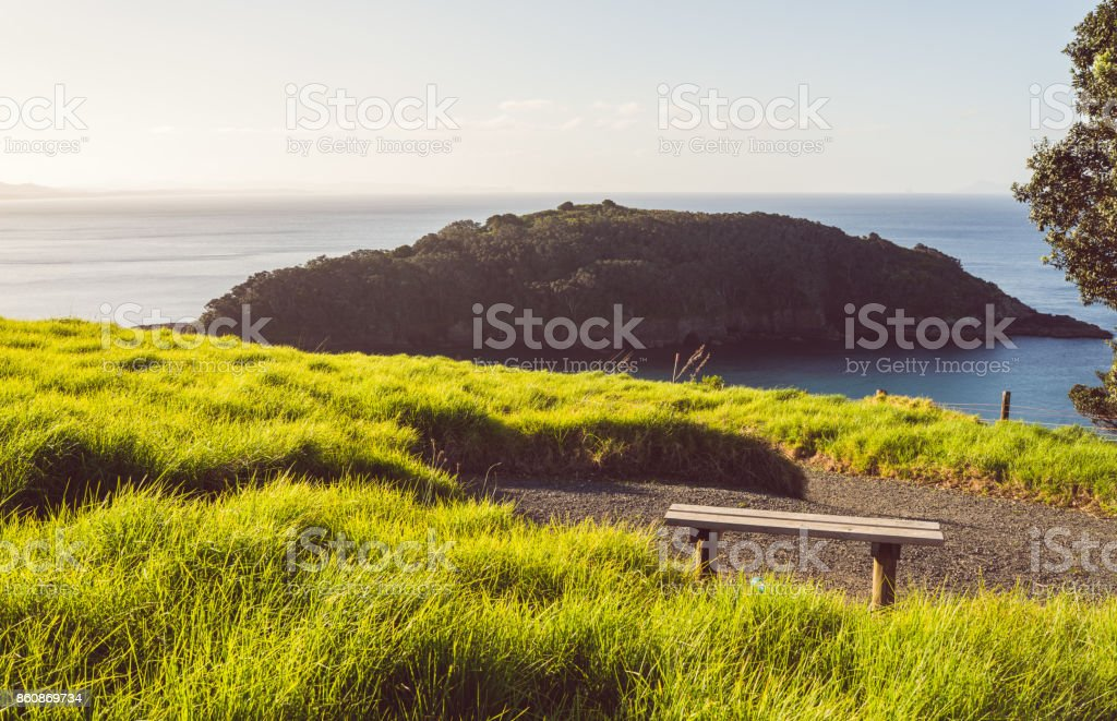 Goat Island, Marine Reserve from hill top view. stock photo