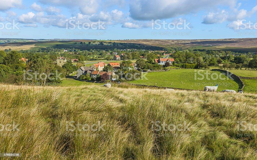 Goathland village and moorland, Yorkshire, UK. stock photo