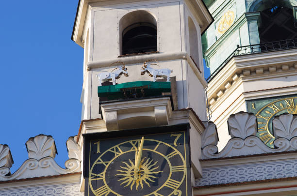 Goats fighting on the tower - symbol of Poznan, Poland stock photo
