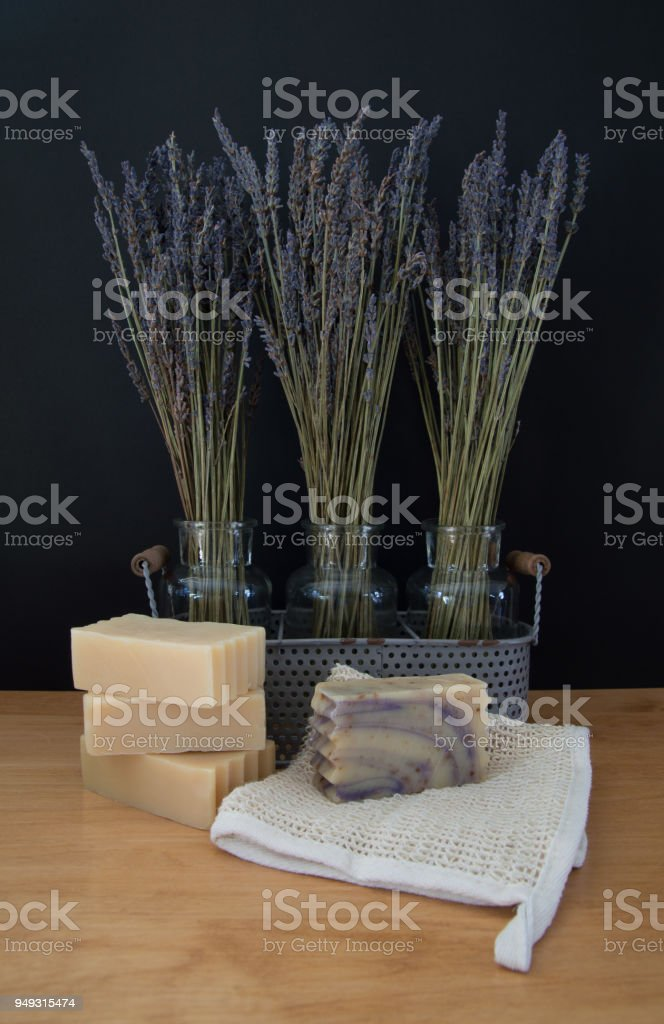 Goats Milk Soap With Lavender In Vases Stock Photo More Pictures