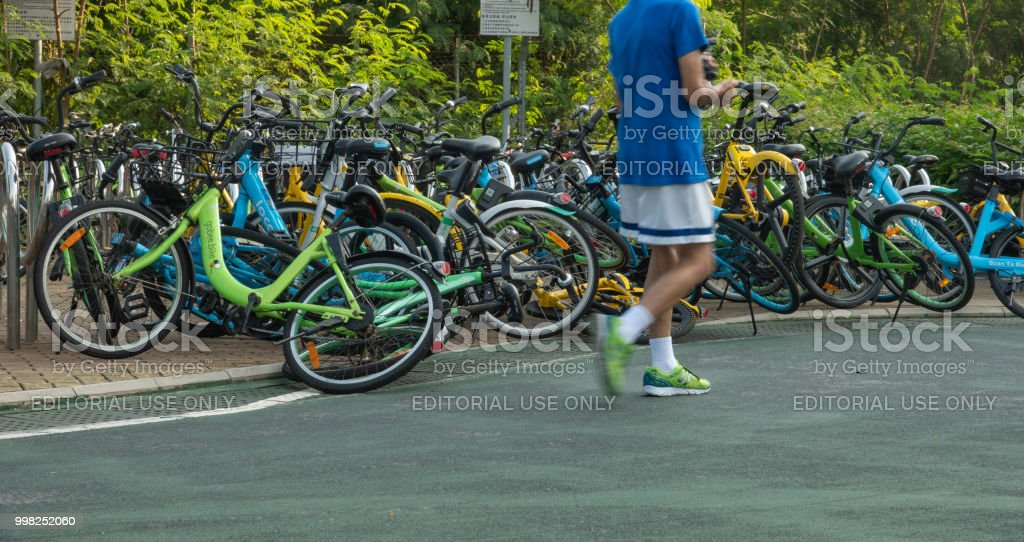 Gobee's smart bikes in Hong Kong stock photo