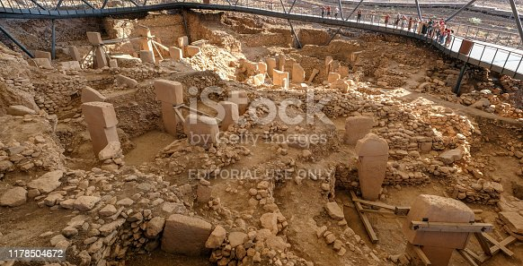 Gobeklitepe, Sanliurfa/Turkey: 17 September, 2019. The remains of an ancient Neolithic sanctuary built on a hilltop. It is the oldest religious structures in the world. Gobeklitepe Panoramic view .