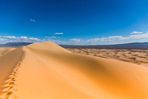 Gobi Desert Sand Dunes Foot Tracks stock photo