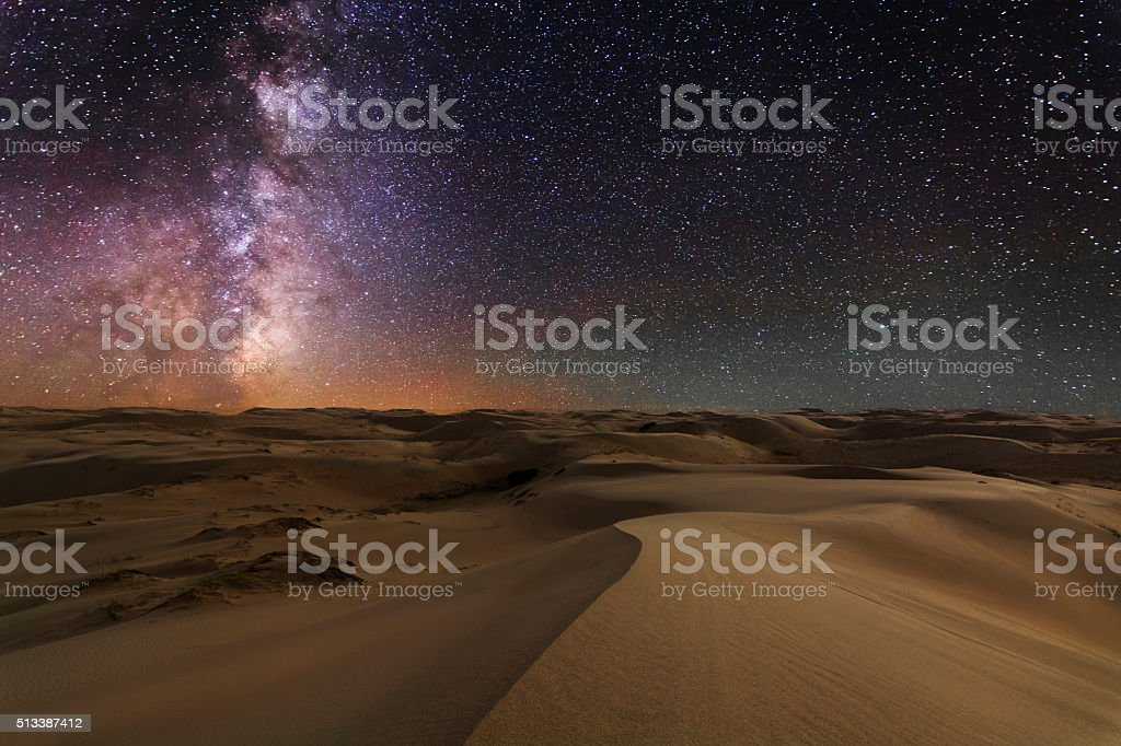 Gobi desert under the night  starry sky. stock photo