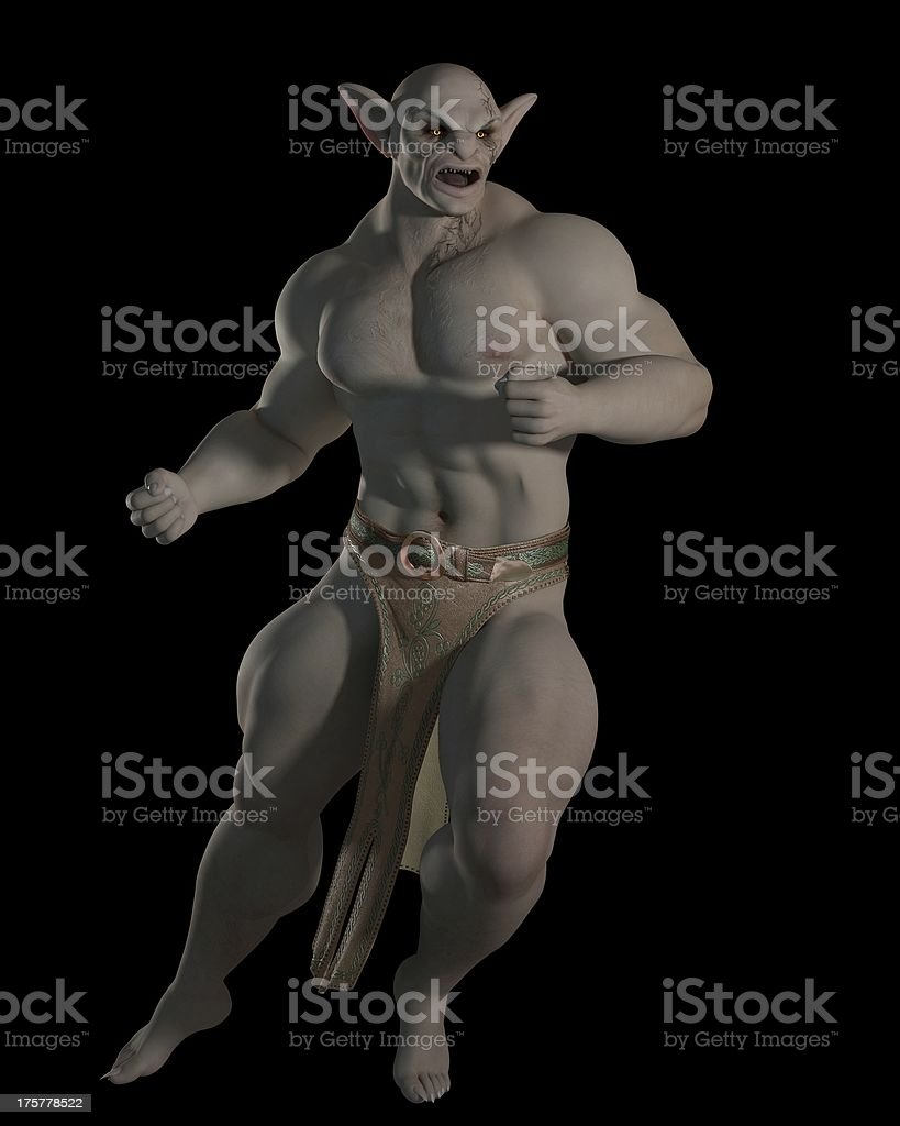Goblin or troll fighting champion stock photo