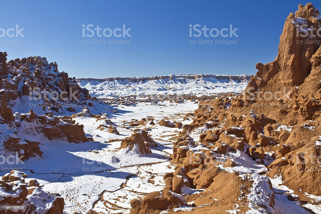 Goblin Valley Canyon in Snow royalty-free stock photo