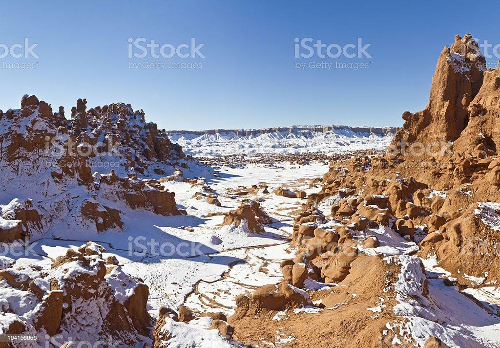 Goblin Valley Snowy Canyon royalty-free stock photo