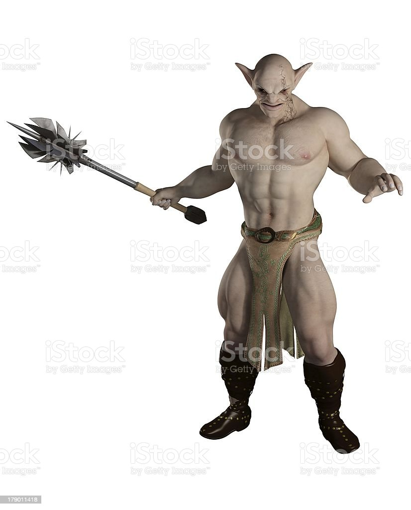 Goblin Warrior with Mace stock photo