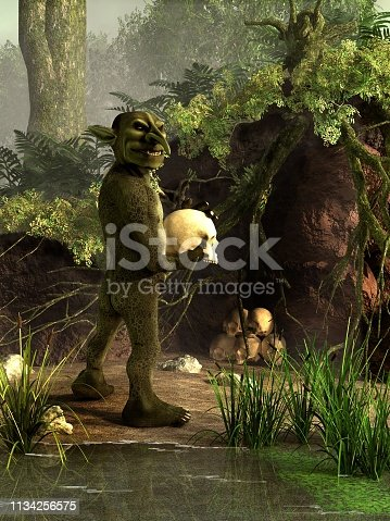 A sinister green goblin glances back at you with a skull in its hands.  It stands by a washed out area by a pond where it keeps its collection of victim's skulls. 3D Rendering