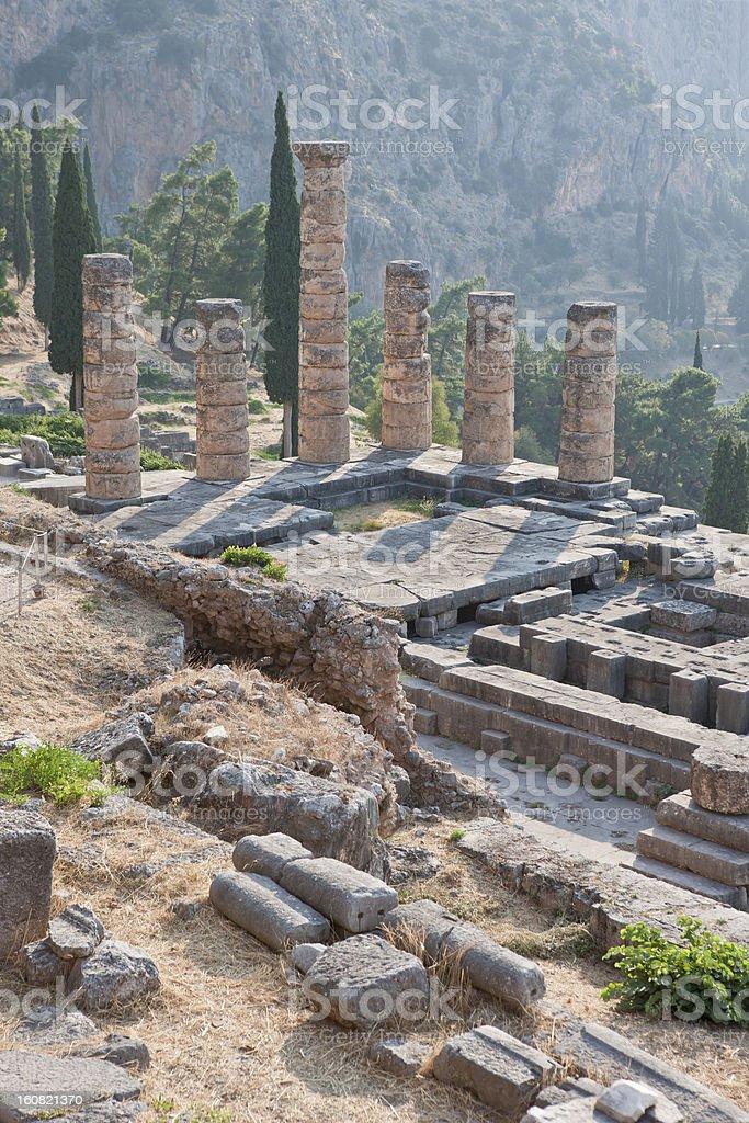 God Apollo`s Temple In Delphi, Greece, From Above stock photo