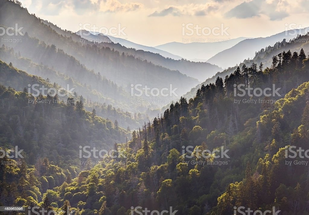 God Beams in Great Smoky Mountains at Morton's Overlook stock photo