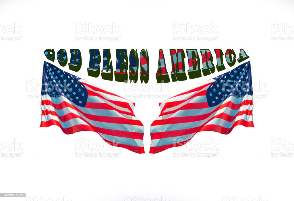 god bless america with two usa flags, patriotic concept stock photo