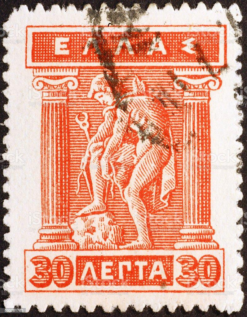 God Hermes on old greek stamp of 1914 stock photo