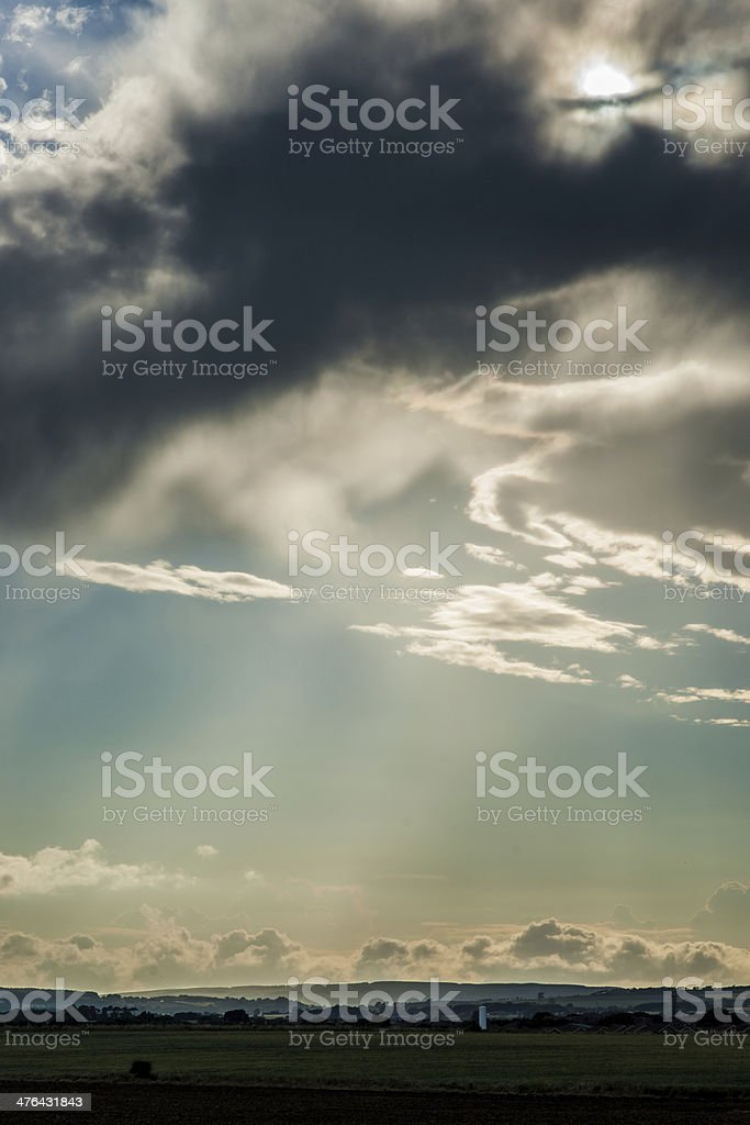 God Rays Breaking Through Storm Clouds royalty-free stock photo
