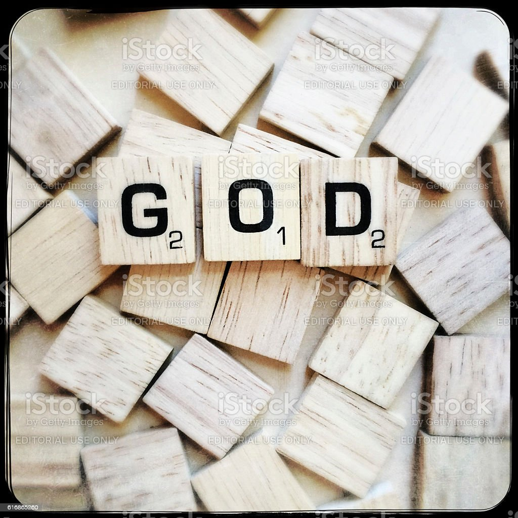 God Spelled with Scrabble Letters stock photo