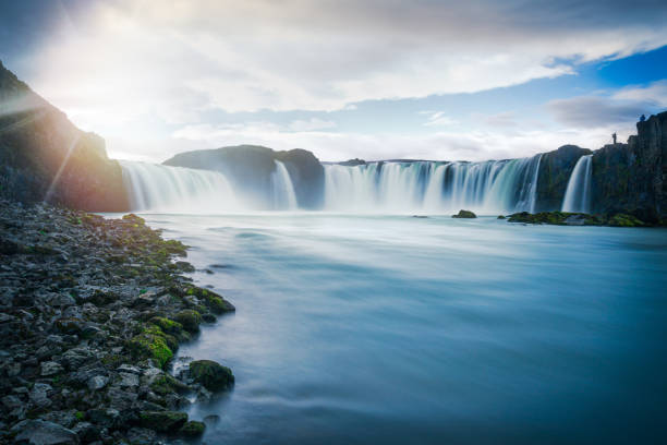 Godafoss Falls, Iceland with motion blur stock photo