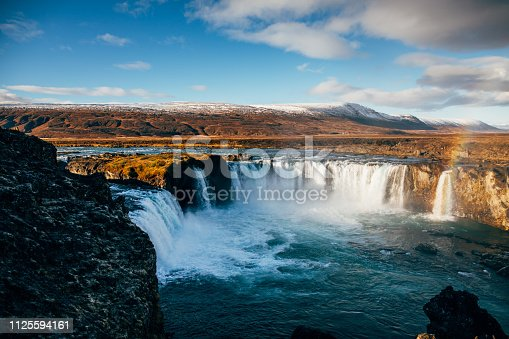 Godafoss waterfall with rainbow
