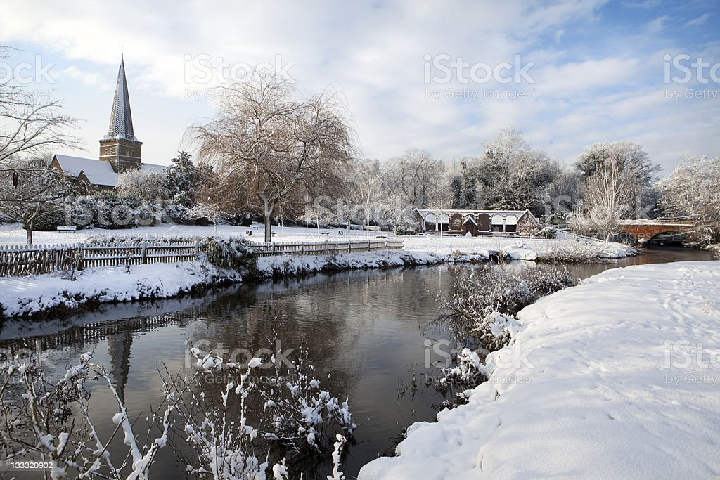 Godalming in winter stock photo