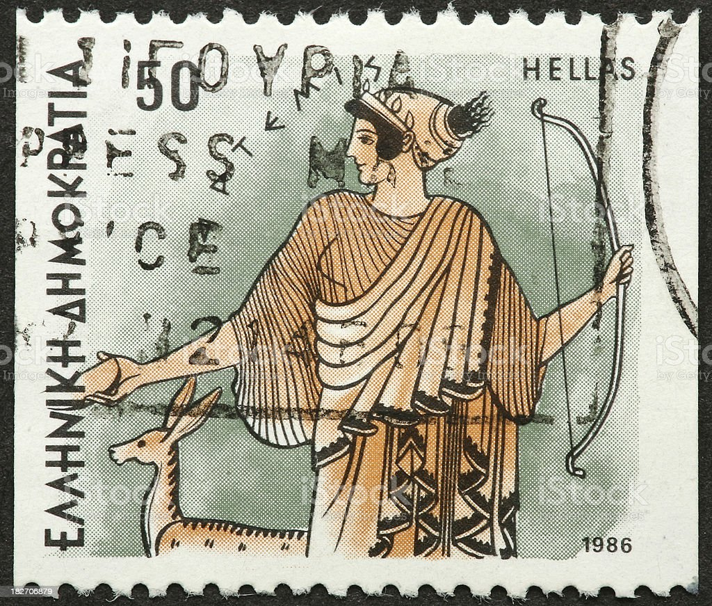 goddess Diana on a Greek stamp royalty-free stock photo