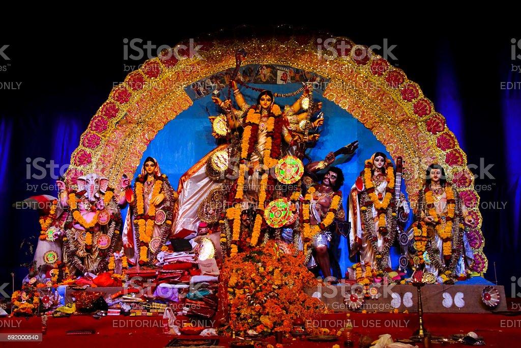 Goddess Durga at yearly festival in Pune of bengali community stock photo
