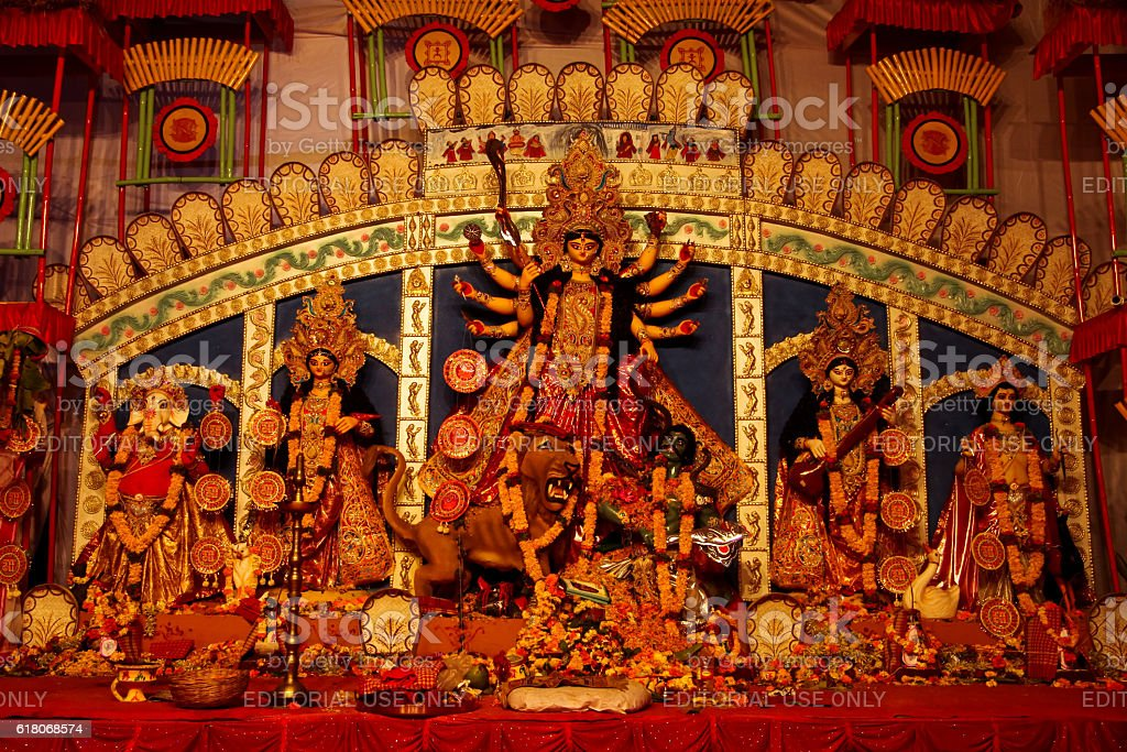 Goddess Durga at yearly festival in Pune stock photo