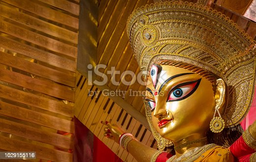 istock Goddess Durga face in close up view for greetings card content 1029155116
