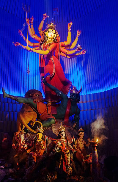 Goddess Durga idol at Puja festival, Kolkata, India stock photo